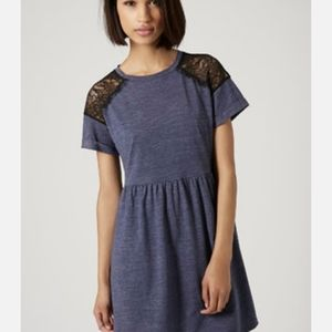 3/25$ Topshop Navy Blue Jersey Lace Dress